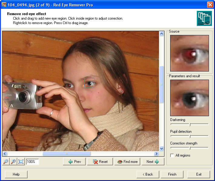 Unique batch imaging software able to automatically detect and fix red eye.